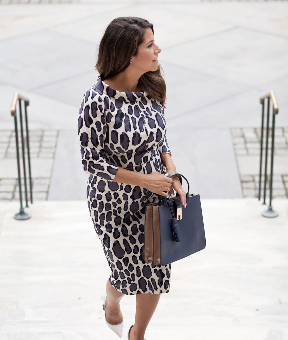 boden leopard dress bodycon dress handbag colorblock calf hair heels corporate catwalk nyfw what to wear to work fashion blogger nyc new york city blogger