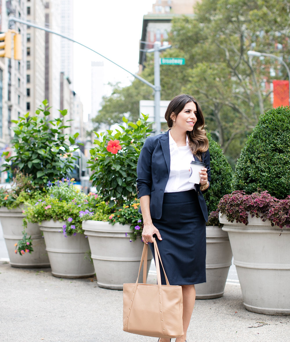 talbots wool suit pencil skirt nude tote what to wear to work work wear fashion blogger corporate catwalk new york city nyc fashion blogger