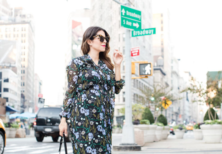 Maternity Style: Floral Dress in Fall
