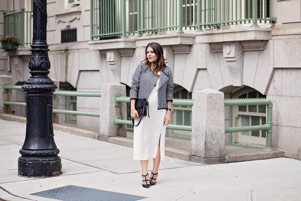 jcrew tweed jacket worth new york bag white sheath dress ann taylor valentino rockstuds what to wear to work workwear corporate catwalk maternity style new york city nyc