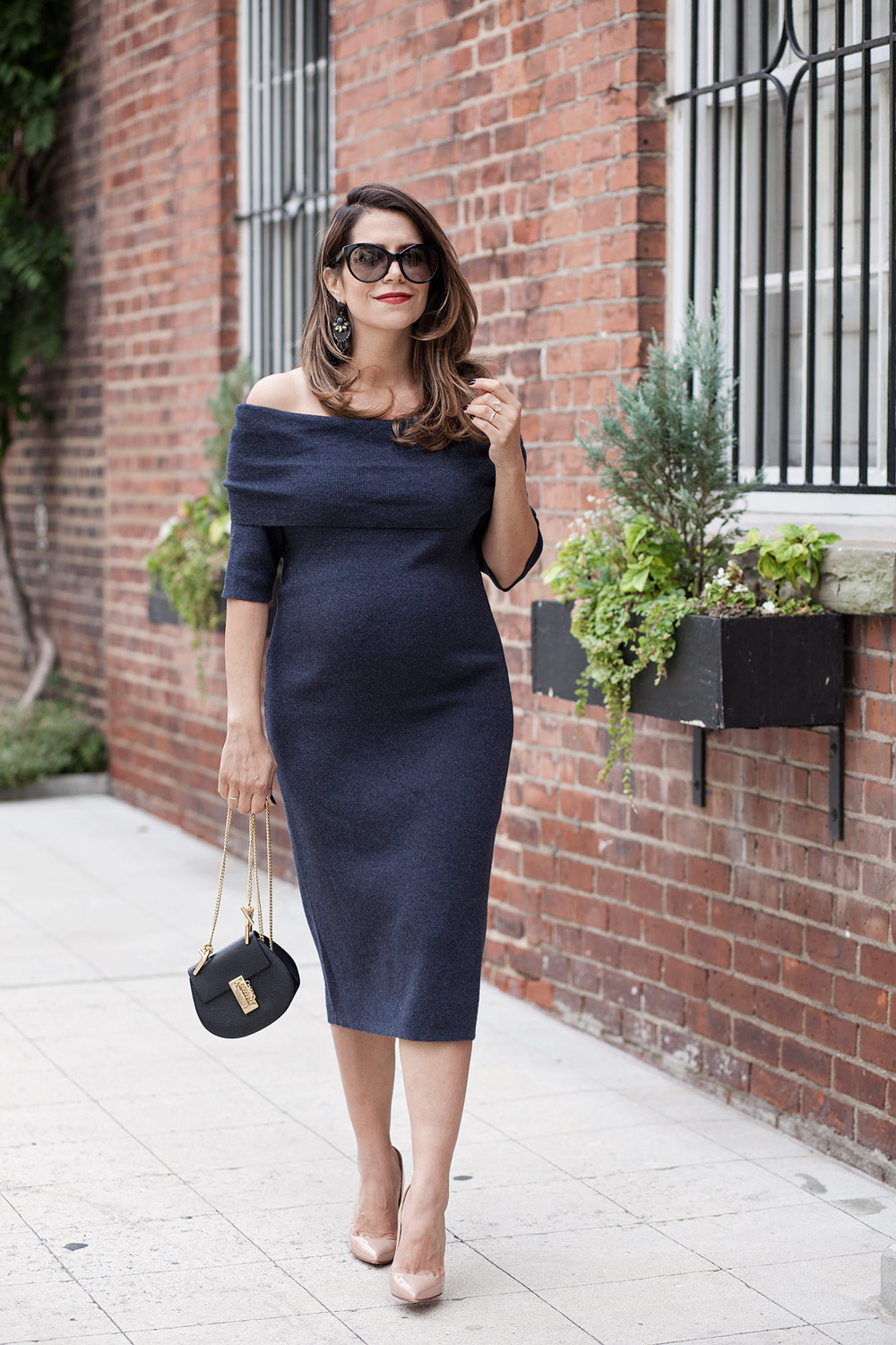 nordstrom-grey-off-the-shoulder-sweater-dress-workwear-chloe-dress-prada-cateye-sunglasses-fall-style-bump-style-maternity-looks-for-fall-corporate-catwalk-2