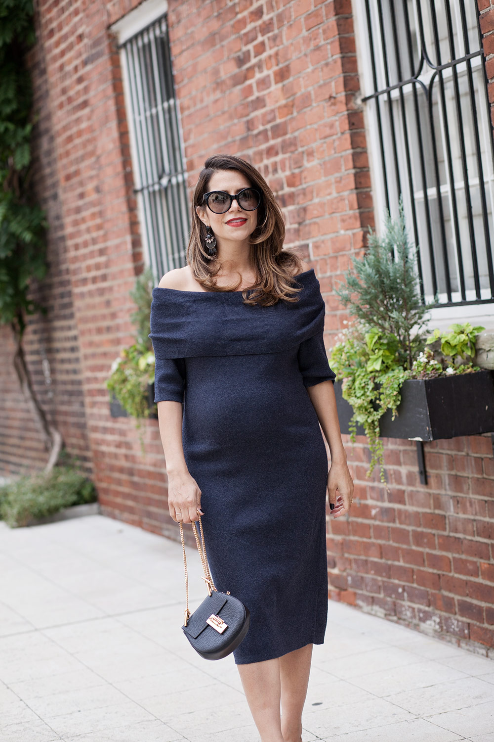 nordstrom-grey-off-the-shoulder-sweater-dress-workwear-chloe-dress-prada-cateye-sunglasses-fall-style-bump-style-maternity-looks-for-fall-corporate-catwalk-3