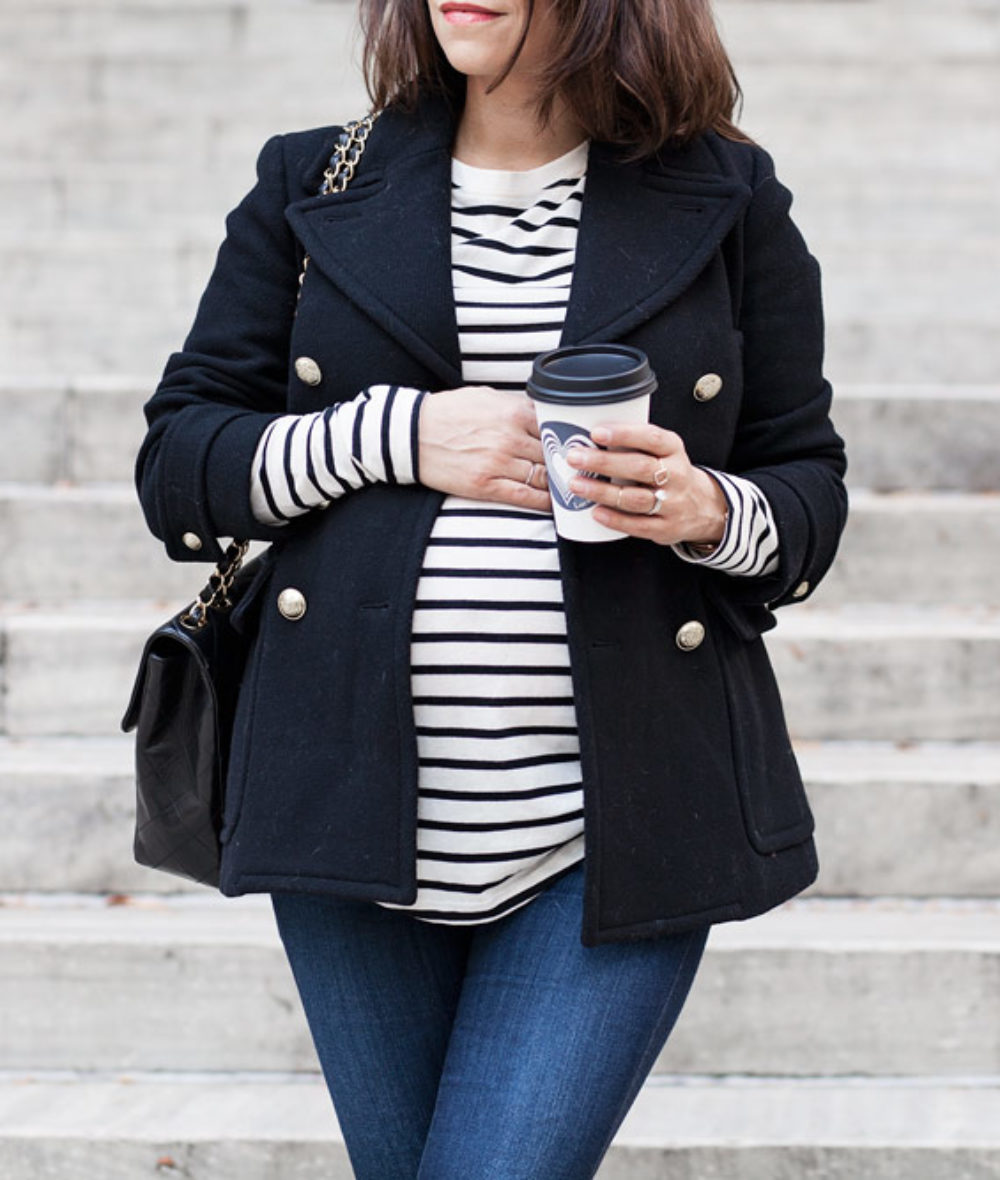 Black Pea Coat Jcrew Chanel Jumbo Bag Black Suede Boots Maternity Style What to Wear while Pregnant Corporate Catwalk New York City Fashion Blogge