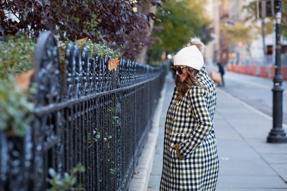 jcrew-oxford-check-coat-winter-style-what-to-wear-nyc-stocking-cap-maternity-style-sweater-dress-olive-green-dress-grey-boots-nyc-corporate-catwalk-1
