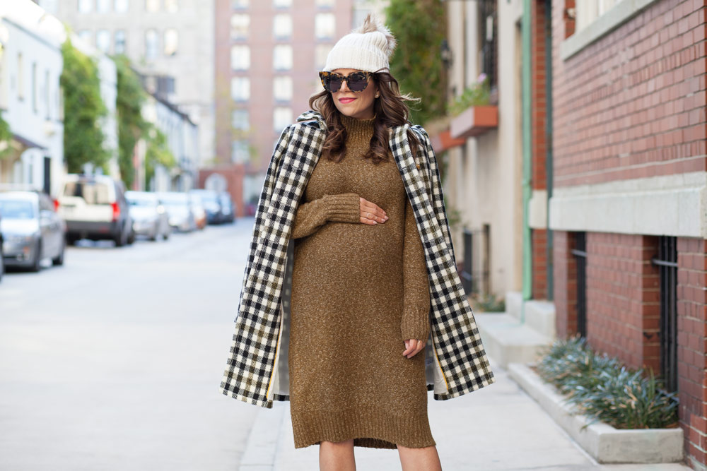 jcrew-oxford-check-coat-winter-style-what-to-wear-nyc-stocking-cap-maternity-style-sweater-dress-olive-green-dress-grey-boots-nyc-corporate-catwalk-10