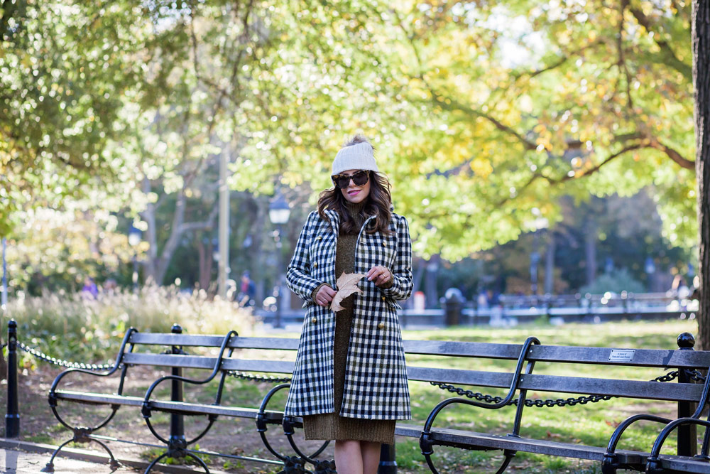 jcrew-oxford-check-coat-winter-style-what-to-wear-nyc-stocking-cap-maternity-style-sweater-dress-olive-green-dress-grey-boots-nyc-corporate-catwalk-2