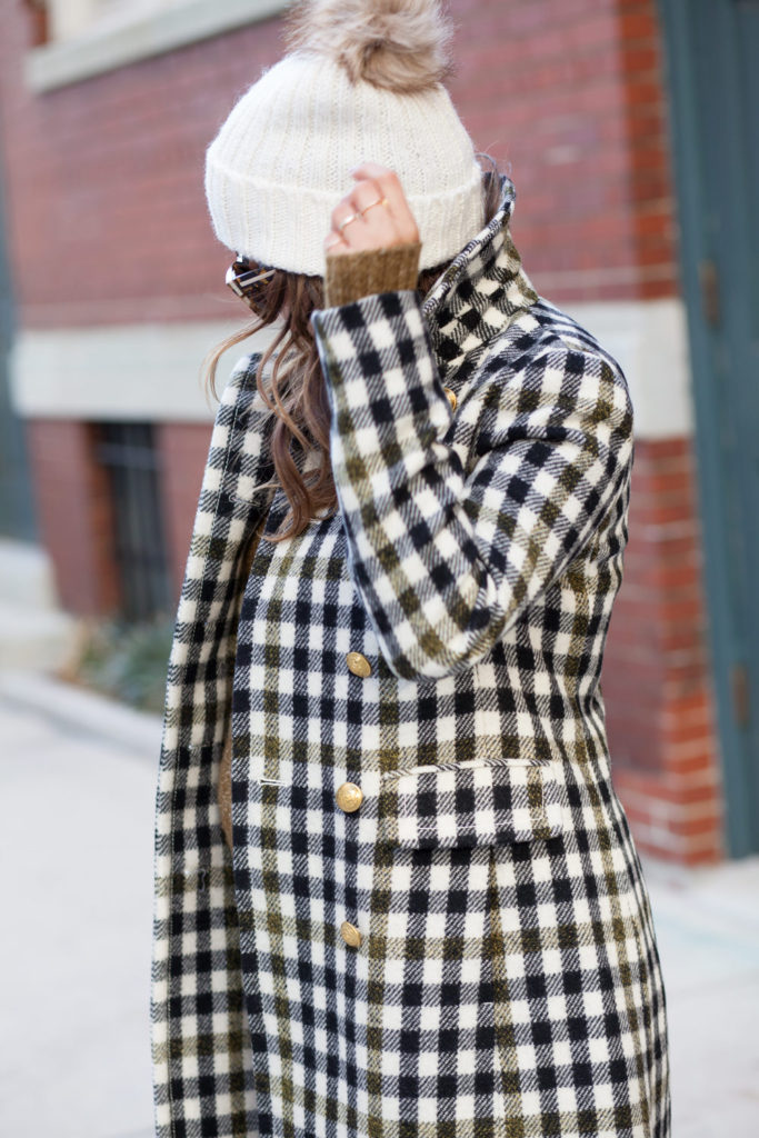 jcrew-oxford-check-coat-winter-style-what-to-wear-nyc-stocking-cap-maternity-style-sweater-dress-olive-green-dress-grey-boots-nyc-corporate-catwalk-4
