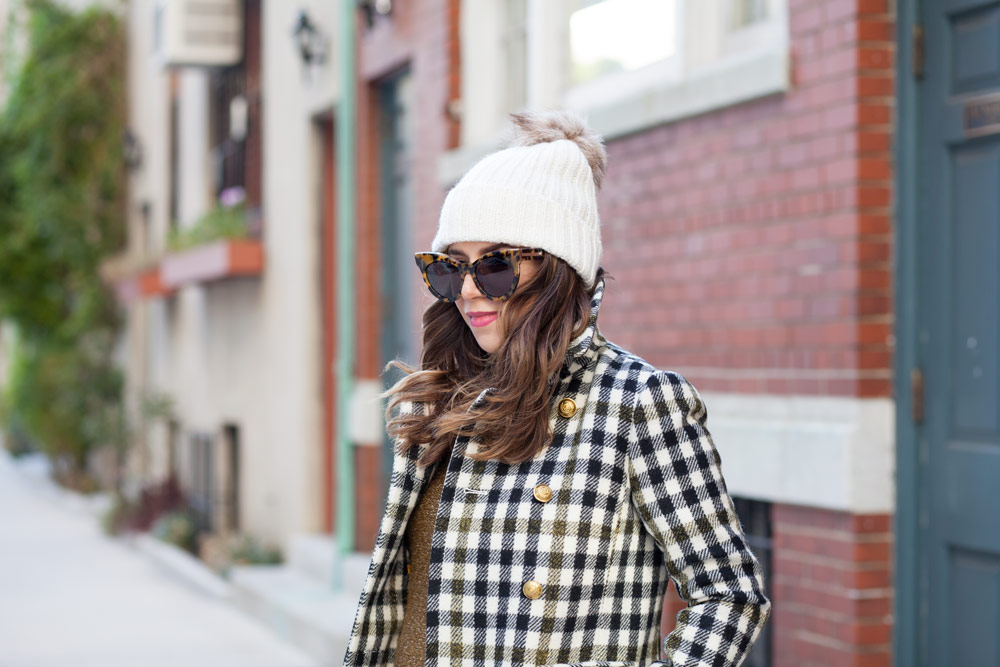 jcrew-oxford-check-coat-winter-style-what-to-wear-nyc-stocking-cap-maternity-style-sweater-dress-olive-green-dress-grey-boots-nyc-corporate-catwalk-5