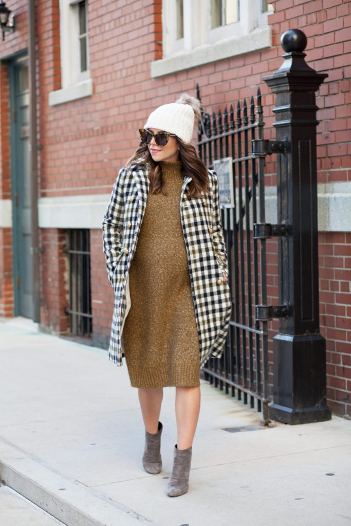 jcrew-oxford-check-coat-winter-style-what-to-wear-nyc-stocking-cap-maternity-style-sweater-dress-olive-green-dress-grey-boots-nyc-corporate-catwalk-6