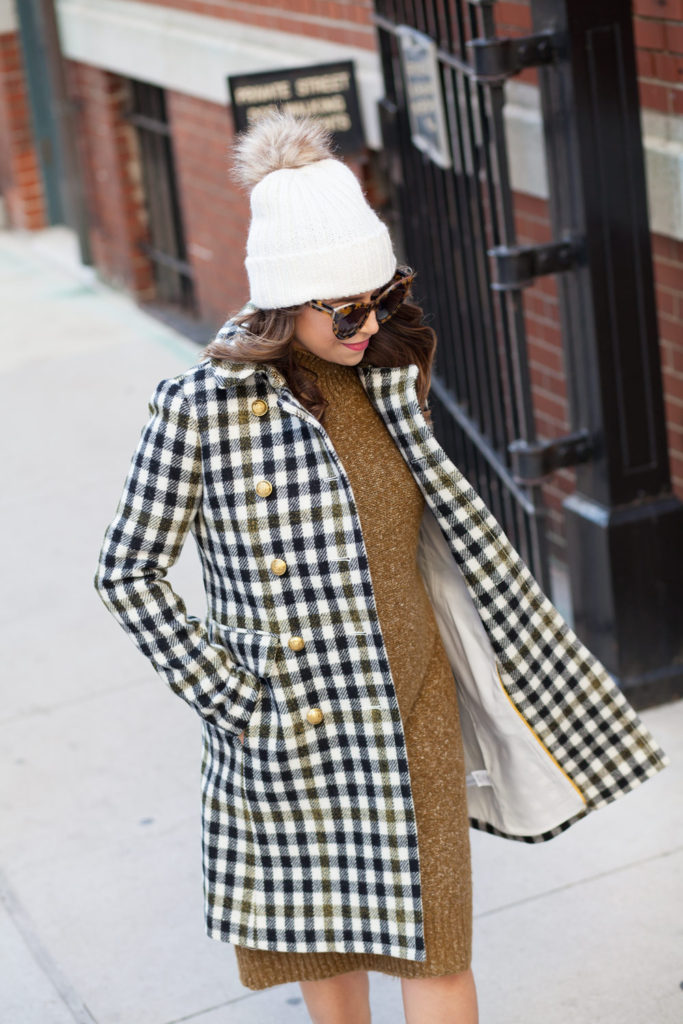 jcrew-oxford-check-coat-winter-style-what-to-wear-nyc-stocking-cap-maternity-style-sweater-dress-olive-green-dress-grey-boots-nyc-corporate-catwalk-7