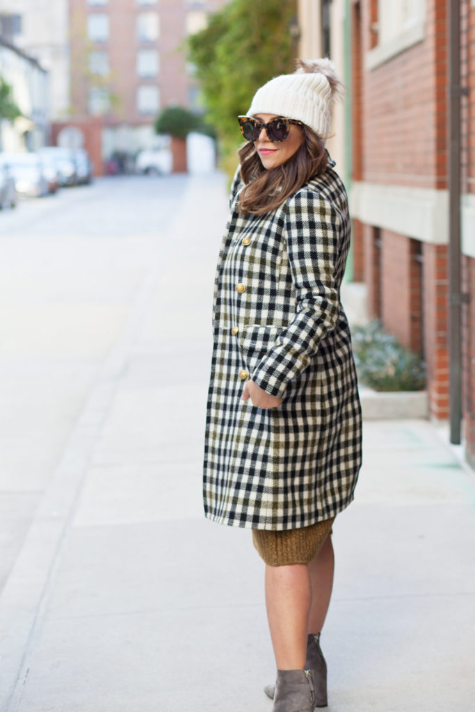 jcrew-oxford-check-coat-winter-style-what-to-wear-nyc-stocking-cap-maternity-style-sweater-dress-olive-green-dress-grey-boots-nyc-corporate-catwalk-8