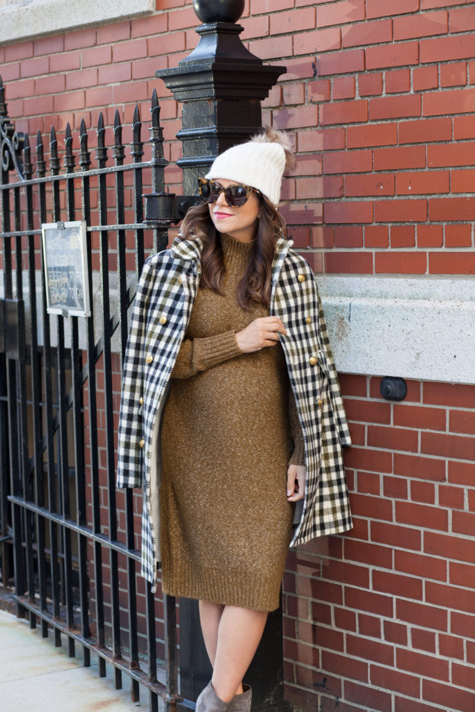 jcrew-oxford-check-coat-winter-style-what-to-wear-nyc-stocking-cap-maternity-style-sweater-dress-olive-green-dress-grey-boots-nyc-corporate-catwalk-9