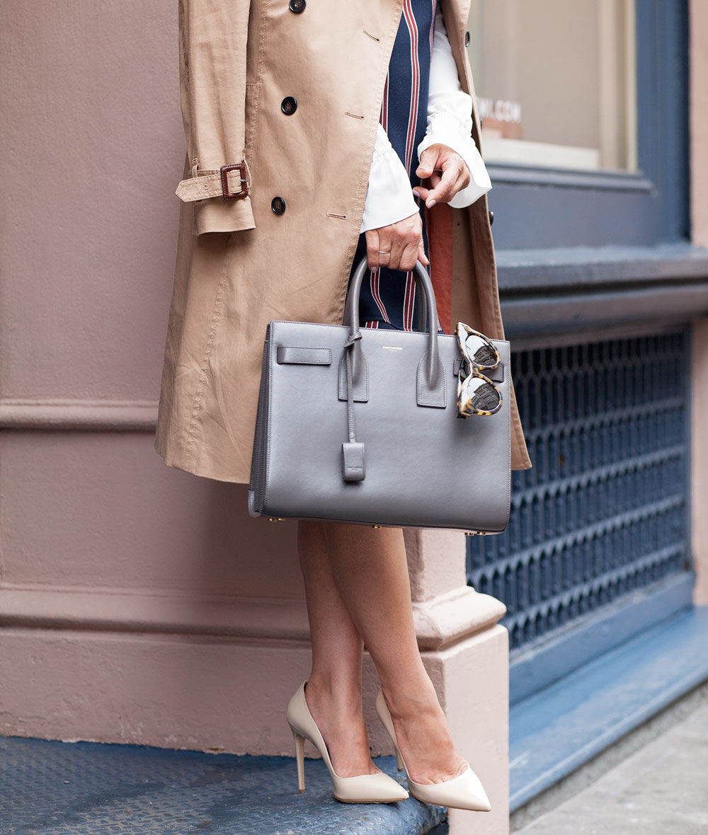 mgemi nyc soho pop up location saint laurent sac de jour grey bag what to wear to work corporate catwalk nyc new york city