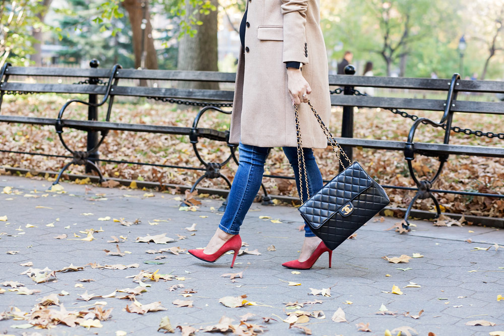 plaid-scarf-red-suede-heels-chanel-jumbo-flap-bag-jcrew-tan-coat-zara-black-turtleneck-new-york-city-washington-square-park-fall-outfit-corporate-catwalk-2