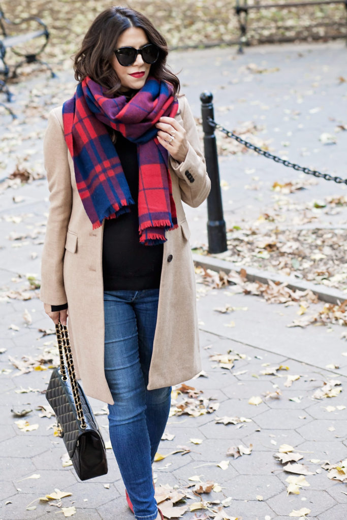 plaid-scarf-red-suede-heels-chanel-jumbo-flap-bag-jcrew-tan-coat-zara-black-turtleneck-new-york-city-washington-square-park-fall-outfit-corporate-catwalk-4