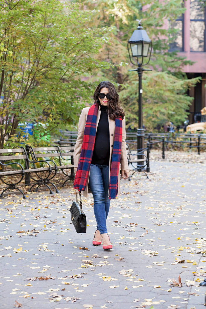 plaid-scarf-red-suede-heels-chanel-jumbo-flap-bag-jcrew-tan-coat-zara-black-turtleneck-new-york-city-washington-square-park-fall-outfit-corporate-catwalk-5