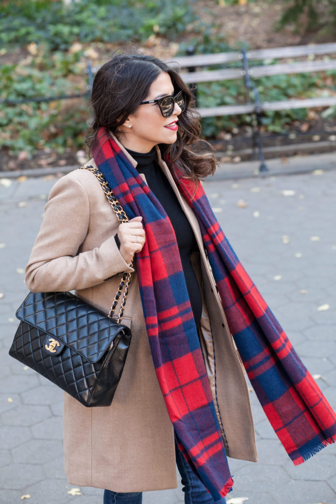 plaid-scarf-red-suede-heels-chanel-jumbo-flap-bag-jcrew-tan-coat-zara-black-turtleneck-new-york-city-washington-square-park-fall-outfit-corporate-catwalk-6
