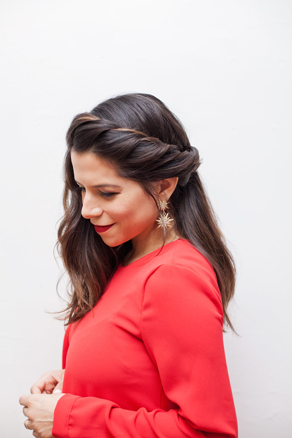 Twisted Side Braid Easy hairstyles for New Year's Eve Braid tutorial how to style your hair this season Corporate Catwalk New York City