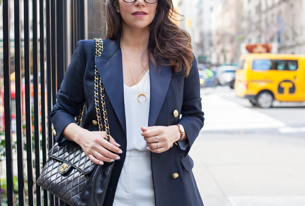 00c7f26cbc30 What to wear to work Corporate Fashion Blog Chanel Bag Navy Blue Blazer New  York Lifestyle