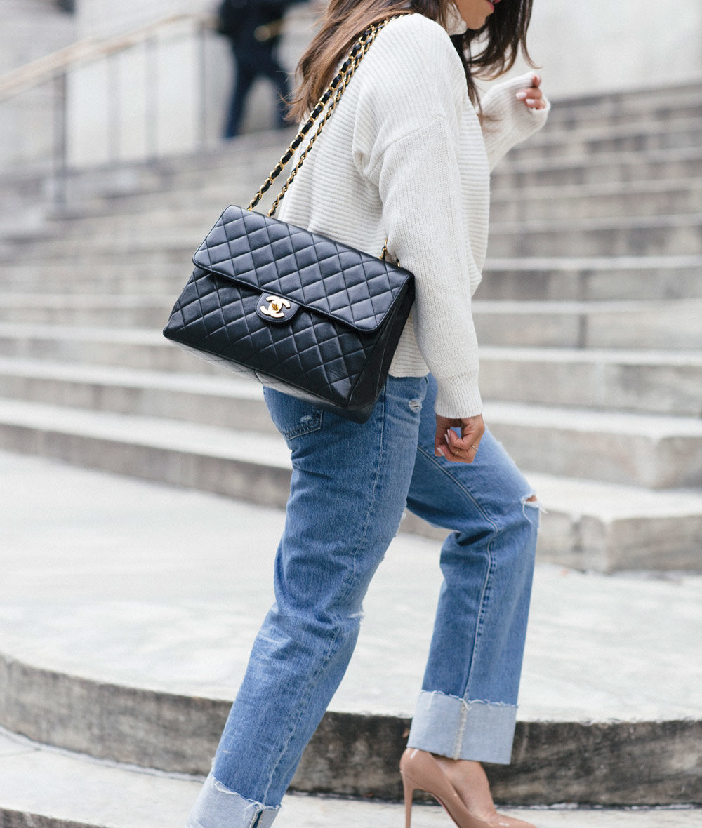 Raw Denim Look Chanel Handbag New York City Fashion Blogger Corporate Catwalk My Winter Favorites