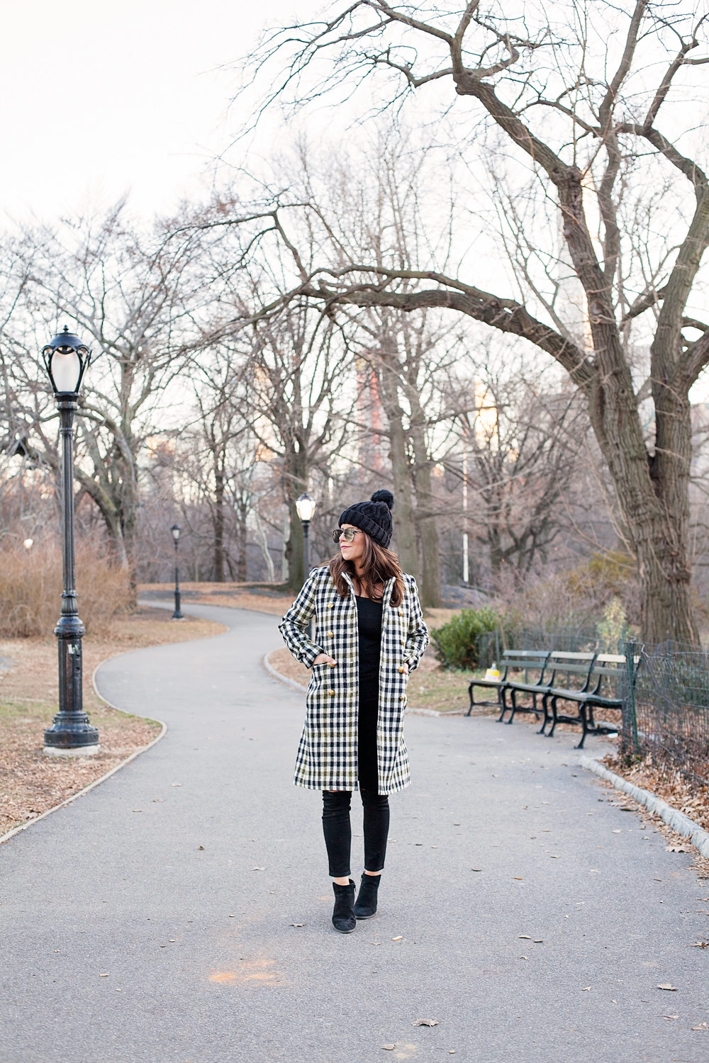 New York, Central Park Outfit Idea What to Wear Plaid Coat Black Denim Stocking Cap New York Street Style