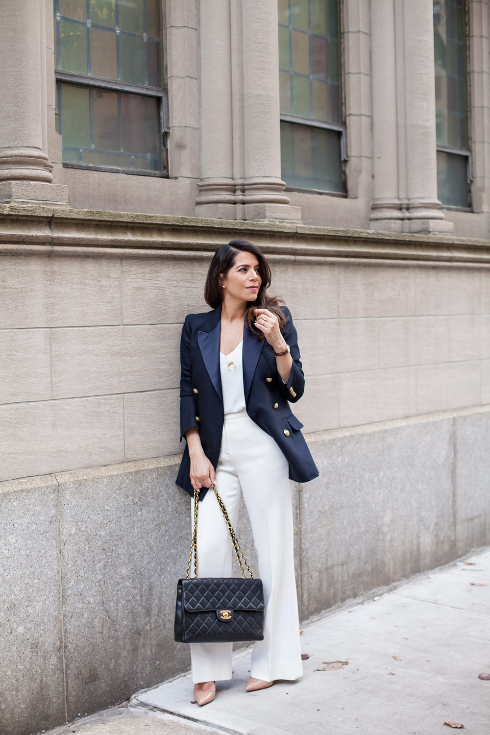 What to wear to work Corporate Fashion Blog Chanel Bag Navy Blue Blazer New York Lifestyle Blog Going back to work post baby motherhood Corporate Catwalk