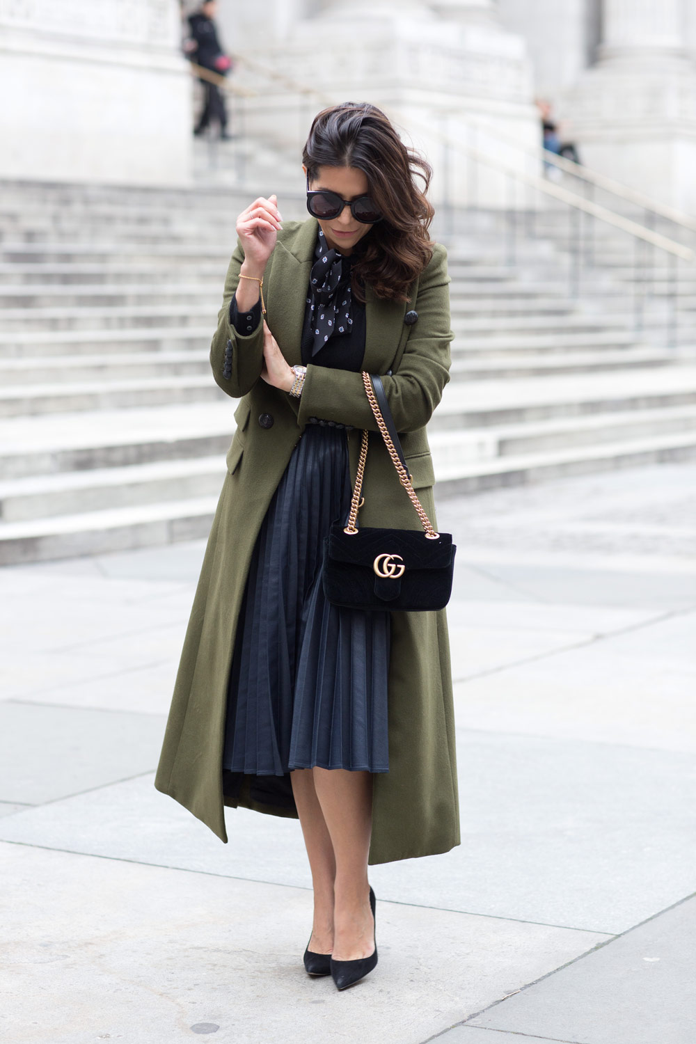 Veronica Beard Voyager Coat Olive Green Coat How to Look Tall Corporate Catwalk Gucci velvet bag