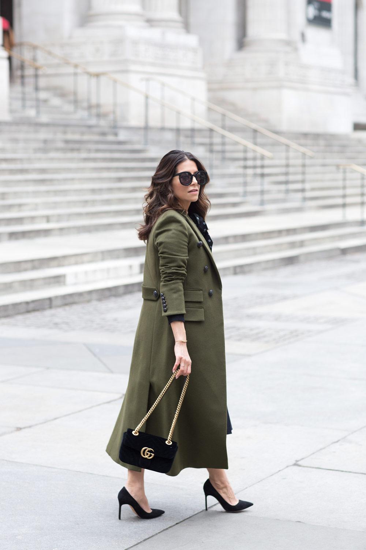 Veronica Beard Voyager Coat Olive Green Coat How to Look Tall Corporate Catwalk Gucci velvet bag