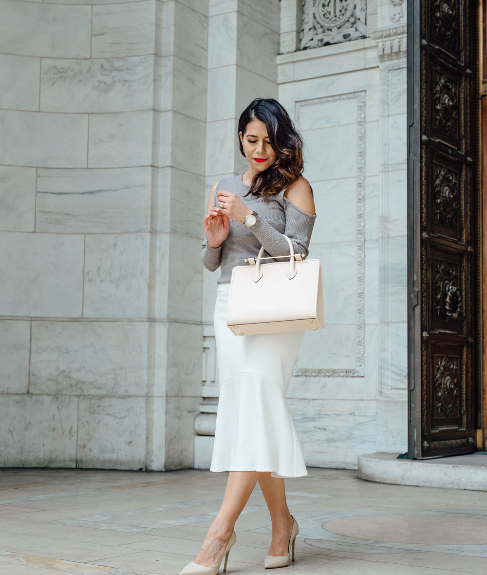 outfit of the day: blouse and sweater + handbag and heels