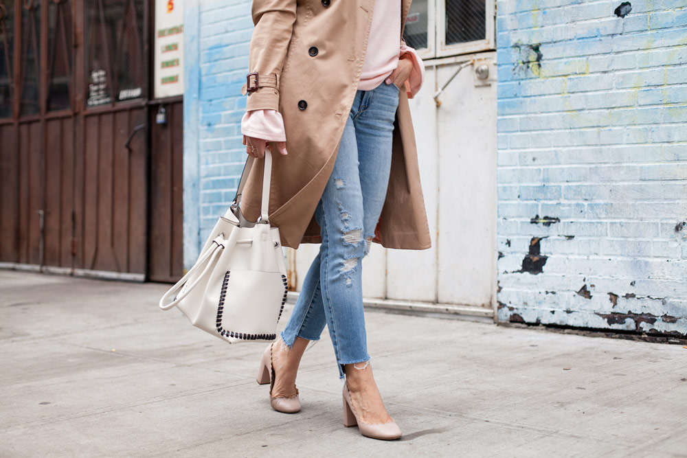 Zara Pink Sweater Ann Taylor Trench Coat Raw Hem Denim Chloe Lauren Heels Spring Casual Style 1