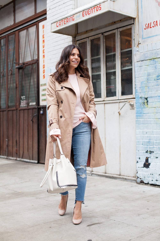 Zara Pink Sweater Ann Taylor Trench Coat Raw Hem Denim Chloe Lauren Heels Spring Casual Style 1