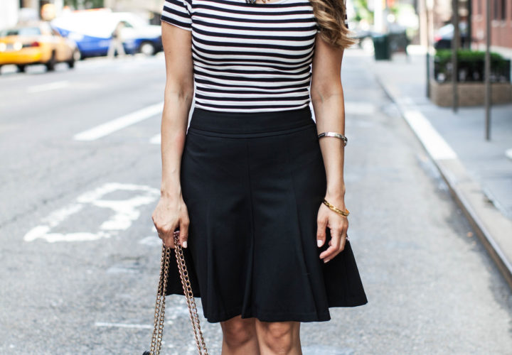 Weekend Wear | Striped Crop Top + Black A-Line Skirt