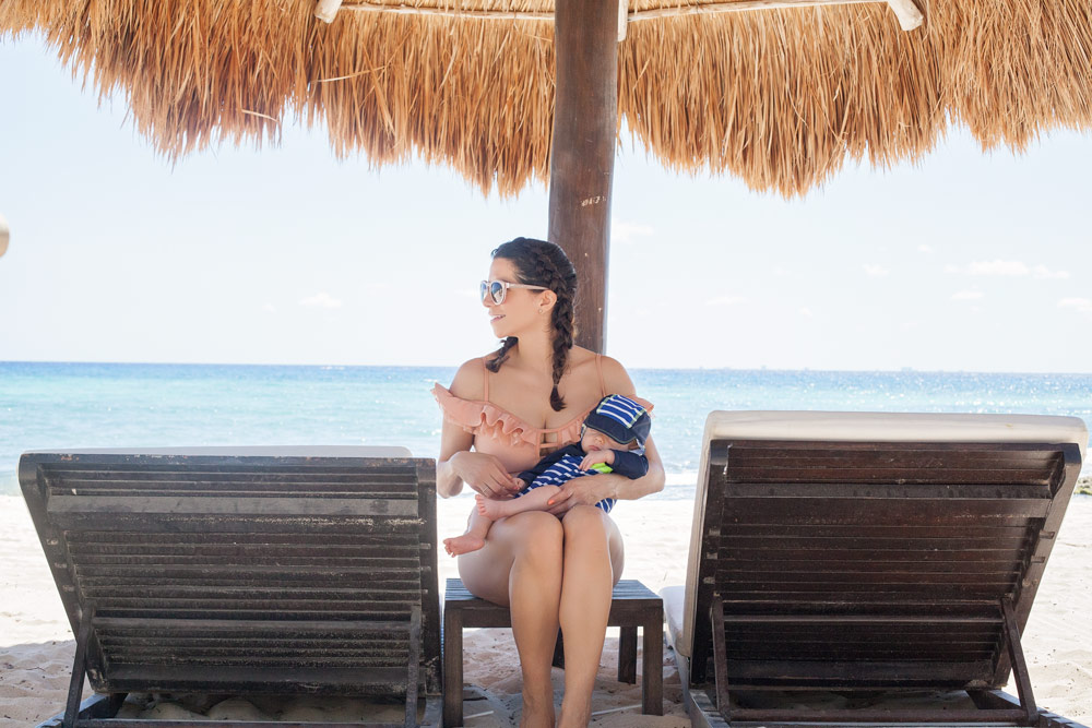 Beach Mexico Tulum Playa del Carmen Tropical Polka Dot swimsuit traveling with infant summer photo