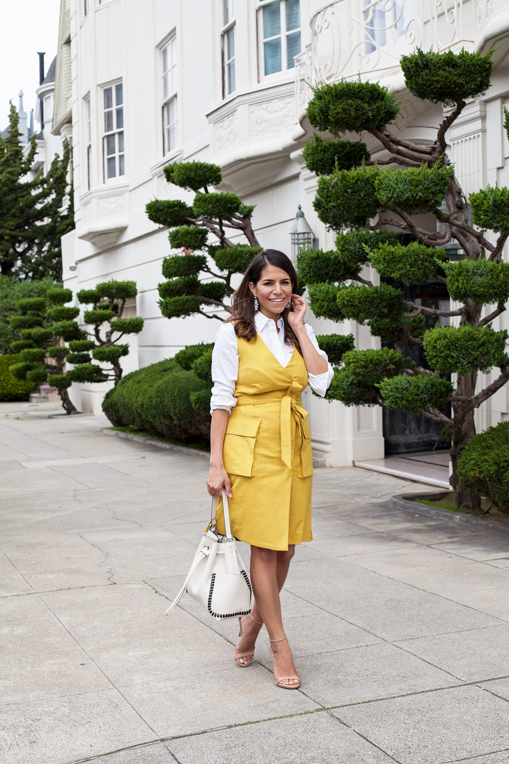 Work Wear Yellow Mustard Wrap Dress Etcetera NYC Spring Looks for Work Corporate Catwalk