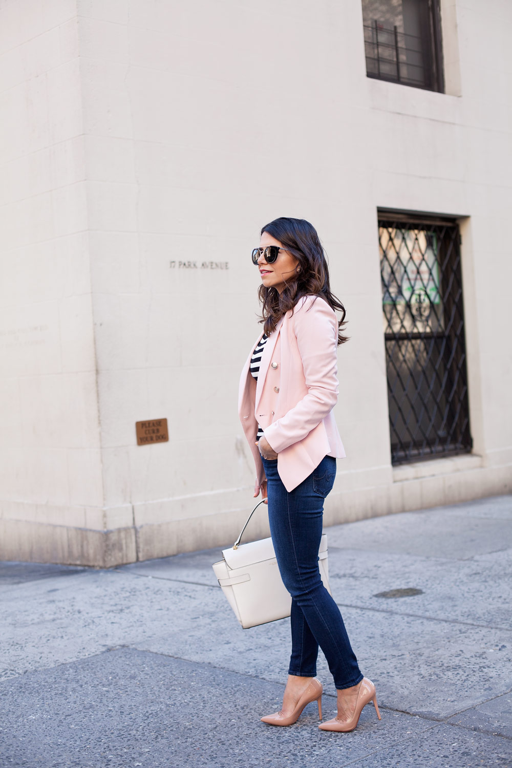 WHBM Pink Blazer New York City Casual Style Denim christian louboutin Nude Pigalle Heels Henri Benel White Bag Prada Sunglasses Corporate Catwalk