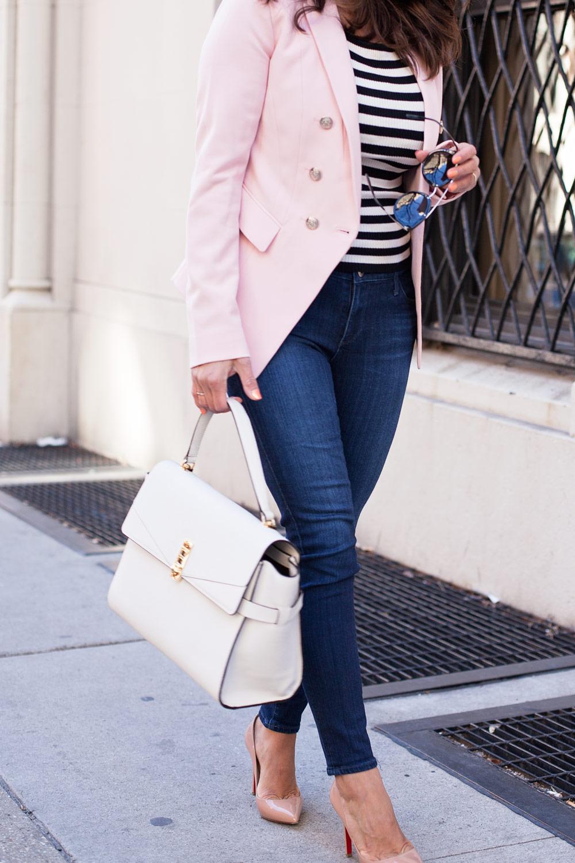 WHBM Pink Blazer New York City Casual Style Denim christian louboutin Nude Pigalle Heels Henri Benel White Bag Prada Sunglasses Corporate Catwalk