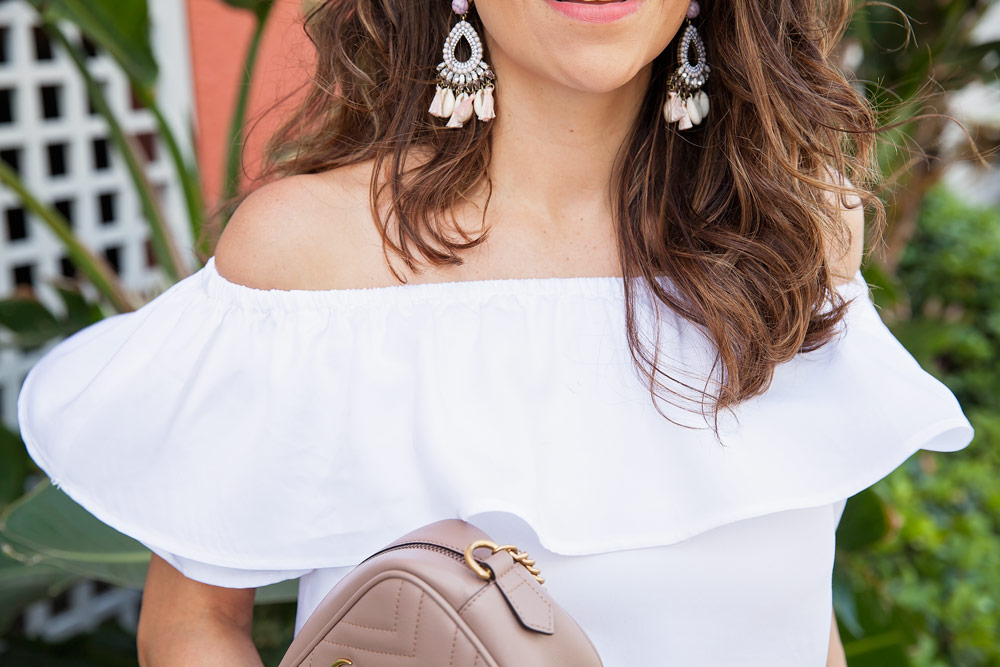 Bauble Bar Earrings White Off the Shoulder Top