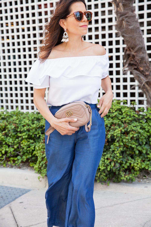 H Halston Style Denim Trousers Gucci Bag J.Crew Sunglasses Leather Wedges