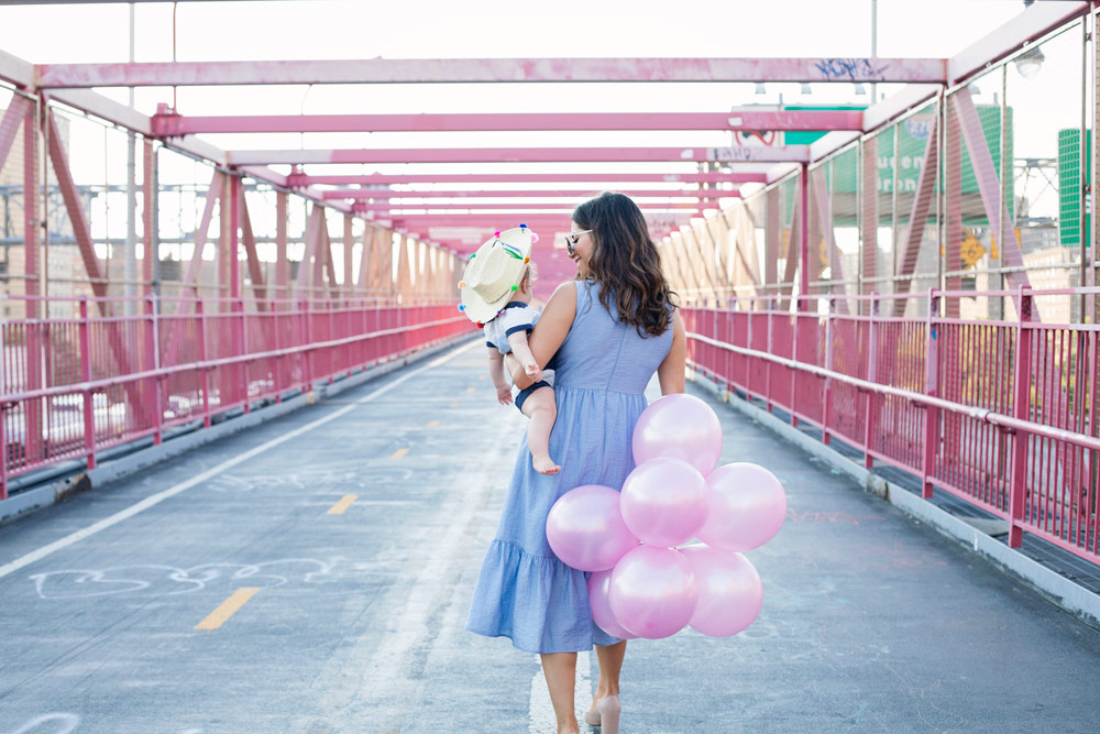 Williamsburg Bridge NYC Pink Bridge New York City Baby Fashion Blogger Shoshanna Gilroy Dress