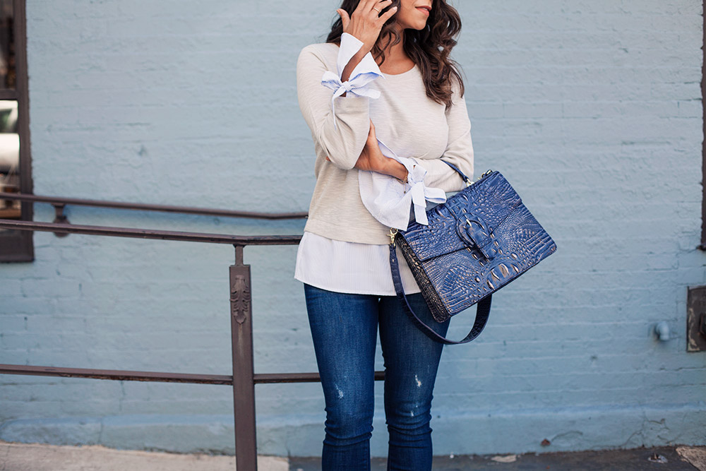 Stitch Fix Review Casual Work Outfit DL 1961 Denim Brahmin Bag Chloe Heels