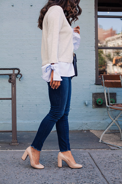 Stitch Fix Review Casual Work Outfit DL 1961 Denim Brahmin Bag Chloe Heels