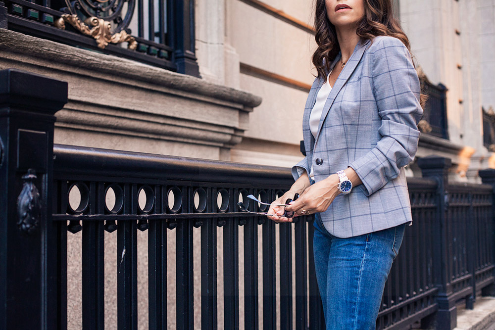 Grey Blazer Corporate Catwalk Denim to the Office How to Wear an Off the Shoulder Top to Work New York City