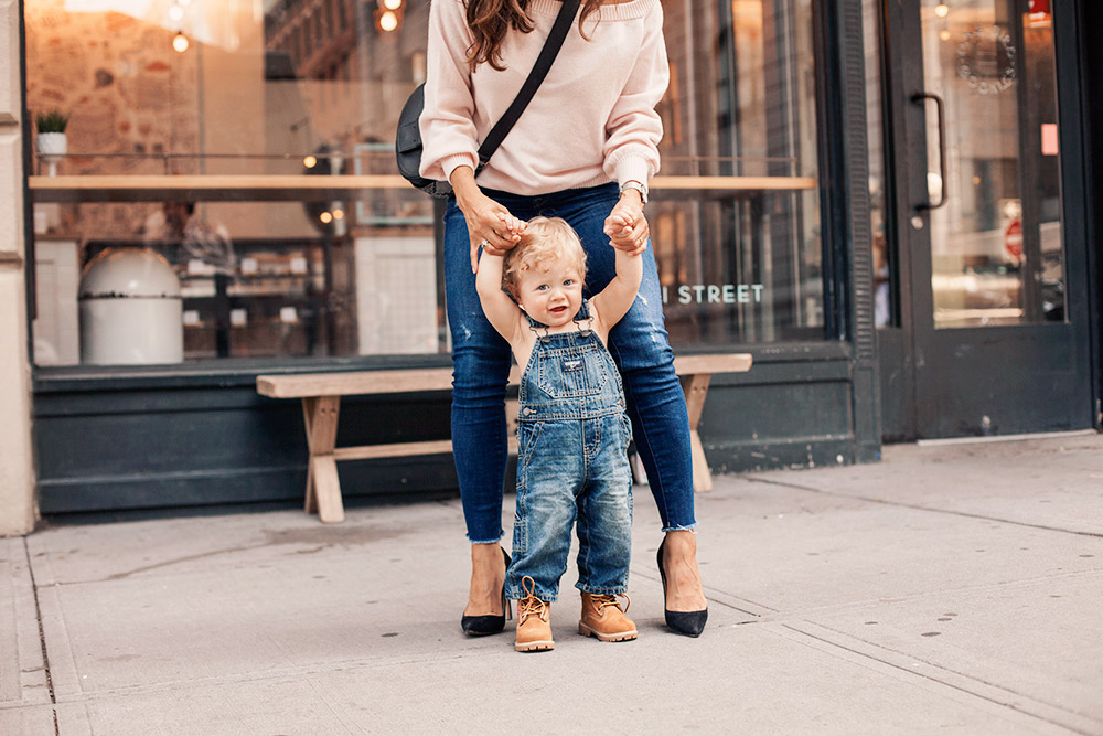 Rebecca Minkoff off the shoulder sweater Pink DL916 Denim Manolo Blahnik Furla Hashtag Crossbody Kids Clothes Mom Blogger NYC Dumbo