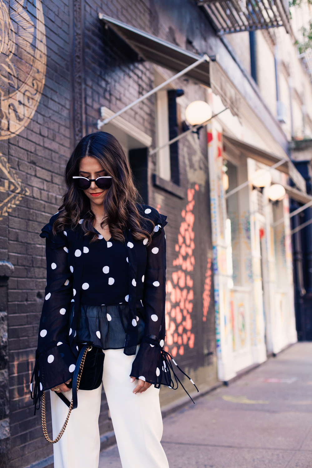 7d6bc21bbb86f Black Polka Dot Blouse White Trousers Workwear Corporate Catwalk Gucci Bag  NYC New York City Fashion