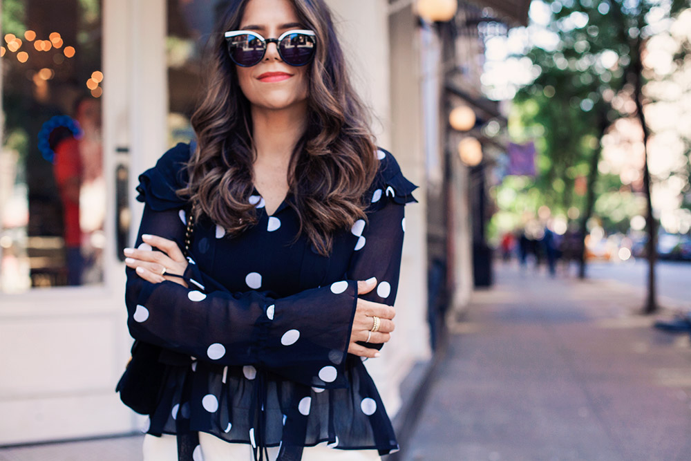 Black Polka Dot Blouse White Trousers Workwear Corporate Catwalk Gucci Bag NYC New York City Fashion Blogger 2017 trends