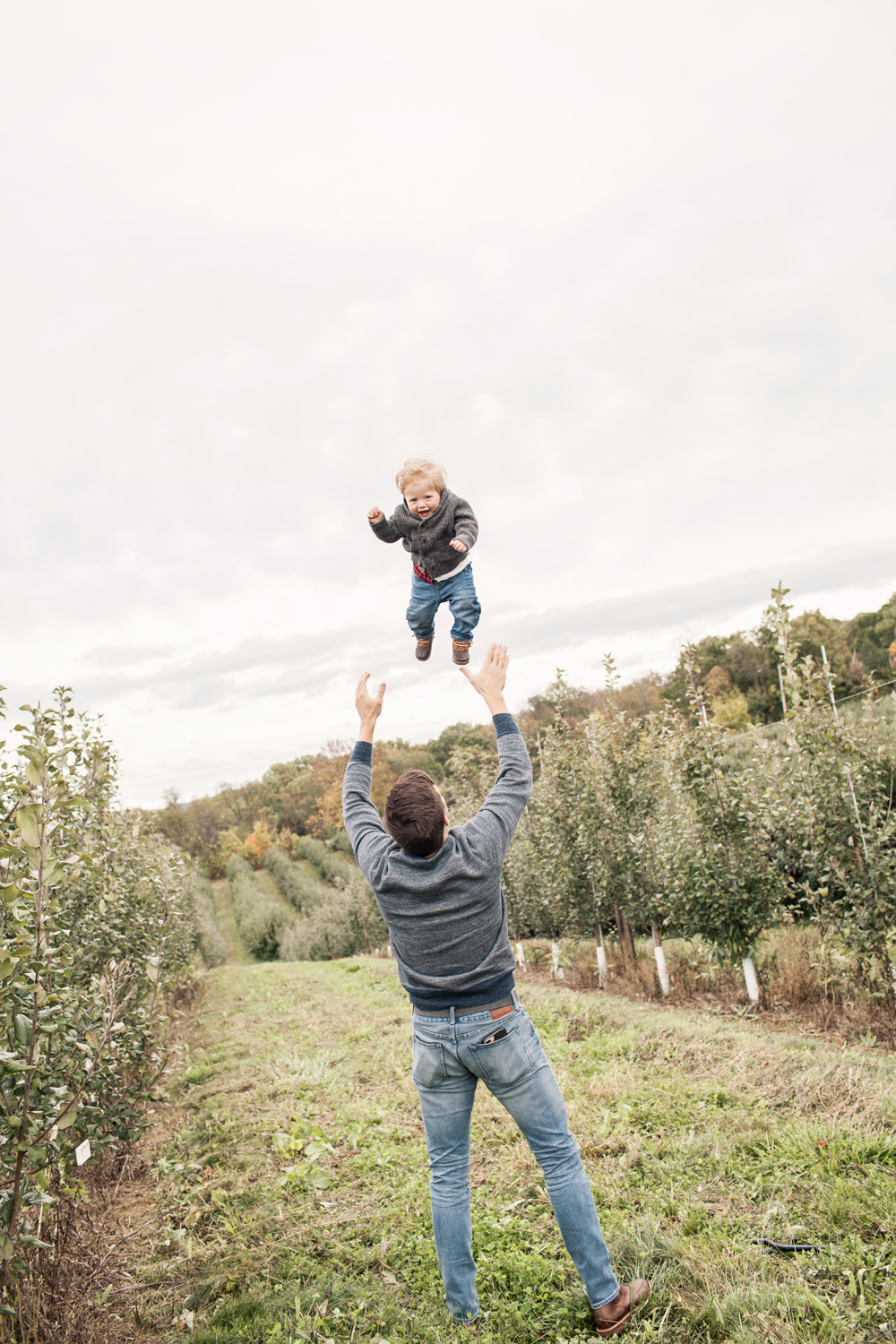 Family Trip Apple Orchard New York Fall Fashion Blogger What to Wear in Fall Father Son Matching Outfits