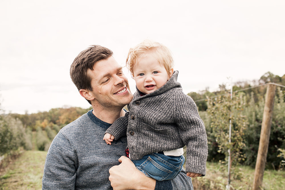 Family Trip Apple Orchard New York Fall Fashion Blogger What to Wear in Fall Father Son Family Matching