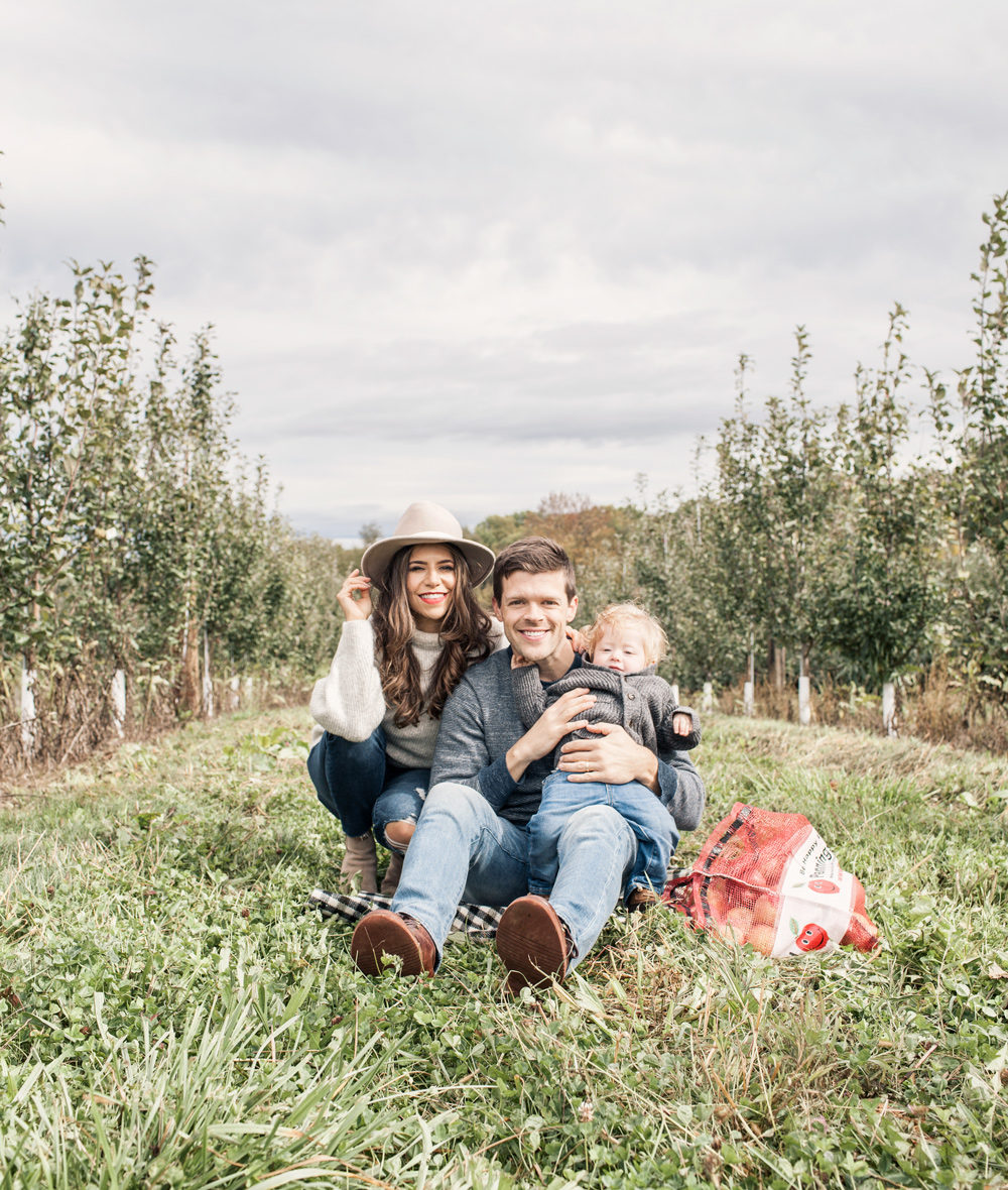 Family Trip Apple Orchard New York Fall Fashion Blogger What to Wear in Fall Sweater Denim Club Monac