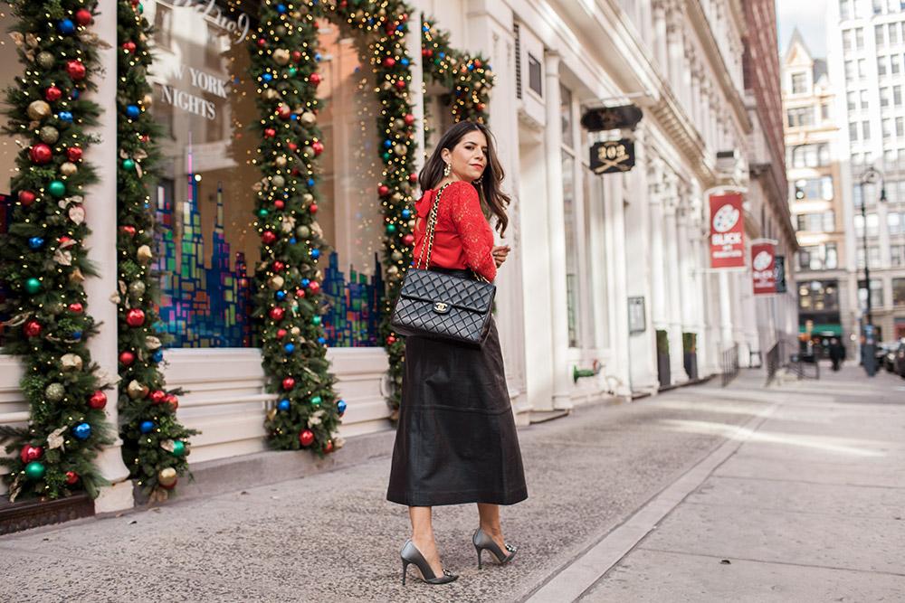 0f8003635821a Black Leather Skirt   Red Lace Sezane Top - Bond Street10 - Olivia ...