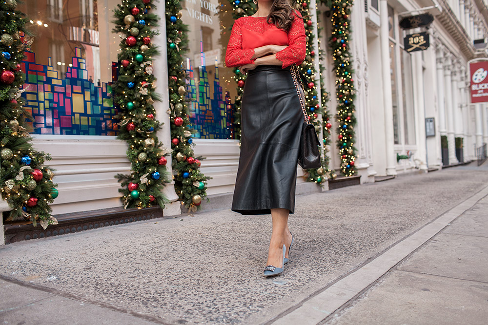 holiday party outfit, Sezane red adeline blouse, vintage chanel purse, french connection leather midi skirt, SJP embellished satin pumps